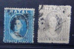 Natal 1861 - 1862 3d Blue 6d Grey Used