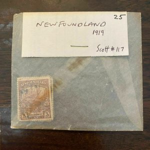 Newfoundland Scott # 117 Lot of 25 Stamps - 3 Cents Trail of the Caribou 1919