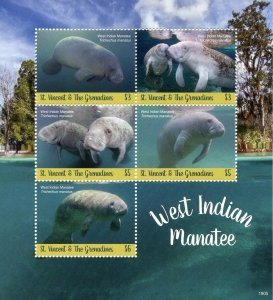 St Vincent & Grenadines 2019 MNH West Indian Manatee 5v M/S Wild Animals Stamps