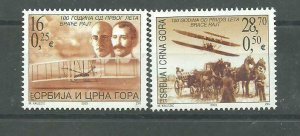 Serbia and Montenegro 2003 100 years of Aviation set MNH