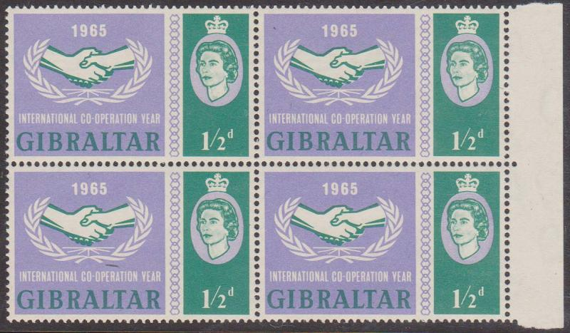 Gibraltar - 1965 ICY 1/2d Block with Broken Leaves Variety