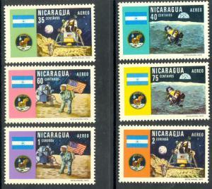 NICARAGUA 1970 MOON LANDING Airmail Set Sc C723-C728 MNH