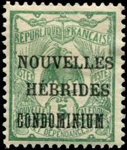 French New Hebrides SC# 6 o/p on issue of France MH