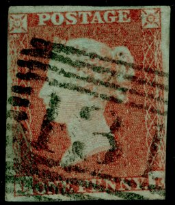 SG9, 1d pale red-brown PLATE 115, USED. Cat £45.