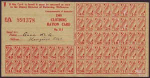 1948 CLOTHING RATION CARD COMPLETE WITH 56 COUPONS - 891378 (RU5193)