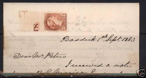 Canada #37b Mint On Dated Letter With Imprint