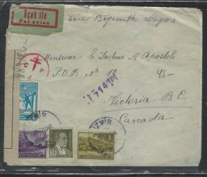TURKEY COVER (PP0605B)  1944 4 STAMP CENSOR COVER TO CANADA