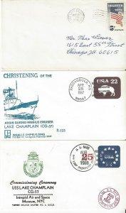US Naval Cover USS Lake Champlain CV 39  1964, CG 57 1987 Christen, 1988 FDC