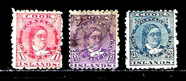 Cook Islands Scott #31, 32 & 34, used