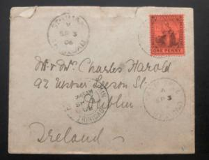 1906 Trinidad & Tobago Vintage Cover to Dublin Ireland Via H&K Packet