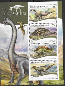 Togo MNH S/S Dinosaurs 4 Stamps 2015