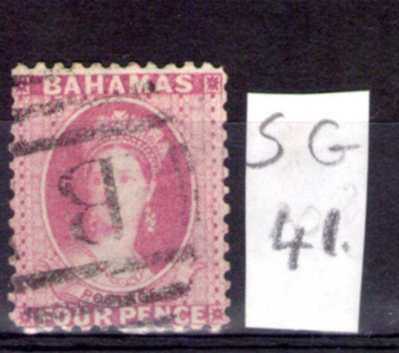 BAHAMAS Victoria , single 1882 SG41 4d Rose used.