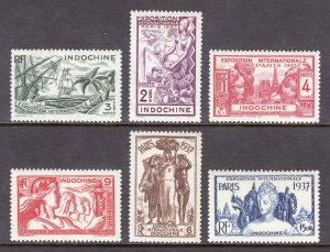 Indochina - Scott #193-198 - MH - Typical toning - SCV $7.25