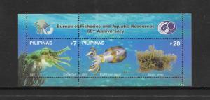 FISH - PHILIPPINES #3095 SQUID & CUTTLE FISH  MNH