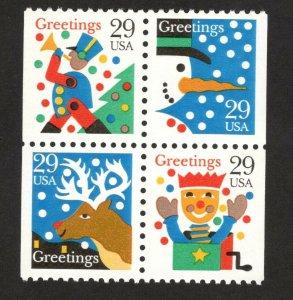 2795-98 Christmas Greetings Block Of 4 Mint/nh FREE  SHIPPING