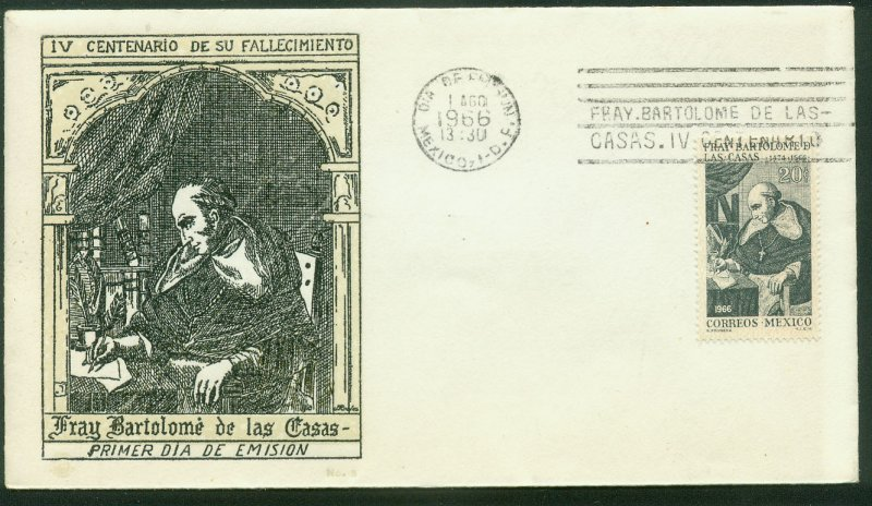 MEXICO 971, 400th DEATH ANNIV FRAY BARTOLOME DE LAS CASAS. FDC VF. (42)