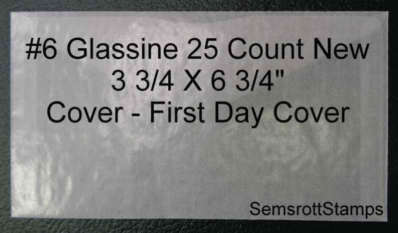 New # 6 Glassine Envelope  3 3/4 x 6 3/4 25 Count