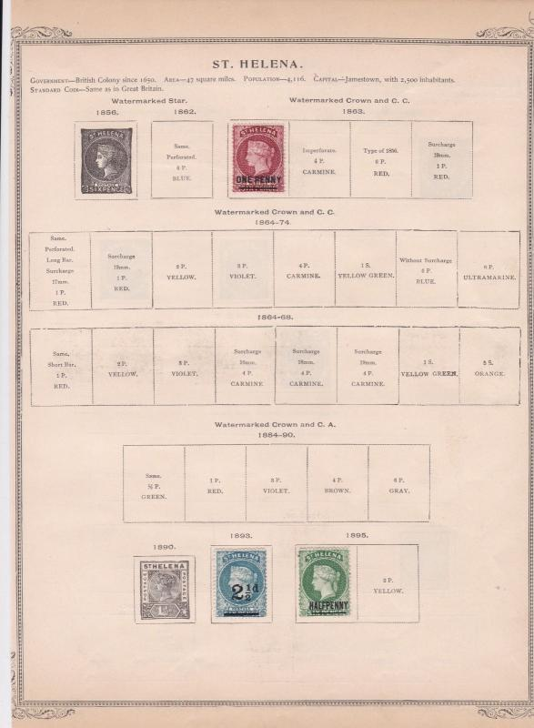 st helena 1862 stamps on album page ref r11395