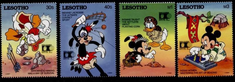 Lesotho 887-90 MNH Disney, Native Americans