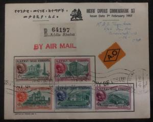 1957 Addis Abba Ethiopia First Day Cover FDC Ancient Capitals Stamp Set #C46-50