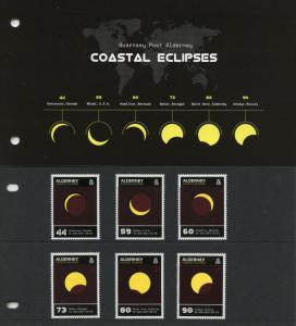 Alderney 2017 MNH Coastal Solar Eclipses 6v Set Pres Pack Thermochromic Stamps
