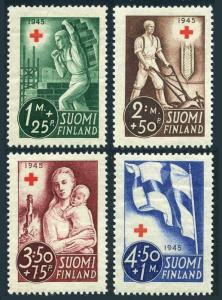 Finland B65-B68,MNH.Michel 291-294. Red Cross-1945.Mason,Farmer plowing,Flag.