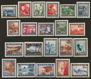 Indonesia 1949 Various designs PROOFS Short Set IMPERF #30-50 VF-NH