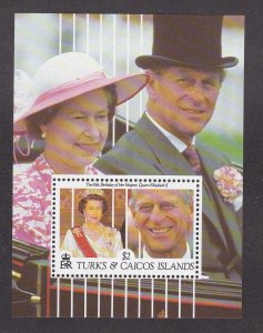 Turks & Caicos Islands # 921, Queen Elizabeth, Souvenir Sheet,  NH, 1/2 Cat.