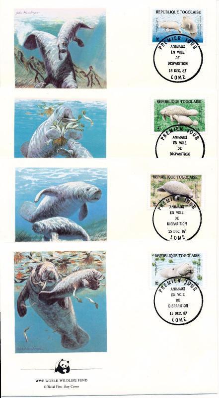 [53931] Togo 1987 Marine life WWF Manatee  FDC 4 covers