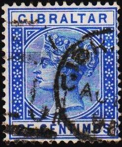 Gibraltar. 1889 25c  S.G.26 Fine Used