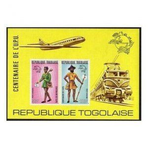 Togo C223a imperf,MNH.Michel Bl.84B. UPU-100,1974.Mailman,uniforms.