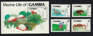 Gambia Turtle Crab Jellyfish Snail Marine Life 4v+MS SG#563-MS567