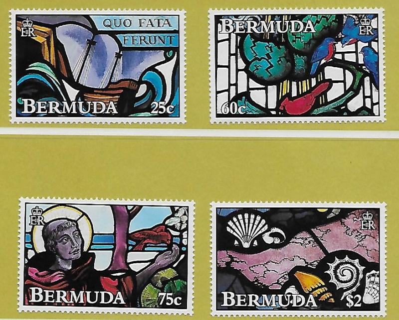 Bermuda 1992 Stained Glass Set #634-637 MNH