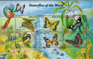 Sierra Leone MNH S/S Butterflies Of The World Insects 6 Stamps