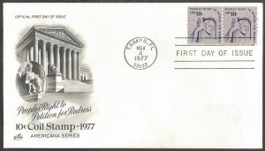 US FDC.1977 PEOPLES RIGHT TO PETITION FOR REDRESS 10C COIL STAMPS.TAMPA FL