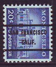 San Francisco CA, 1047-71 Bureau Precancel, 20¢ Monticello