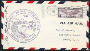 UNITED STATES First Flight Cover c1931 Florence SC