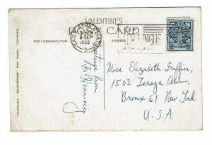 Ireland 1953 Blarney Stone Post Card to USA (Creased Corner) - Z298