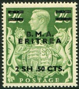 BRITISH OCC OF ITALIAN COL (ERITREA) 1948-49-2s50 on 2/6 Yellow-Green UM Sg E10a
