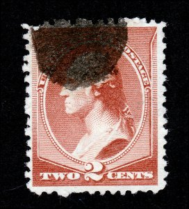 SCOTT #210 BANKNOTE ISSUE 2 CENTS RED BROWN BLOB CANCEL 1883