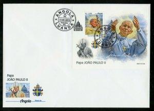 ANGOLA 2019 POPE JOHN PAUL II  SOUVENIR SHEET FIRST DAY COVER