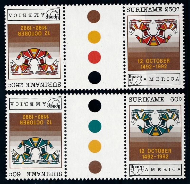 [SU745GPA] Suriname 1992 UPAE Gutter pairs Traffic lights MNH