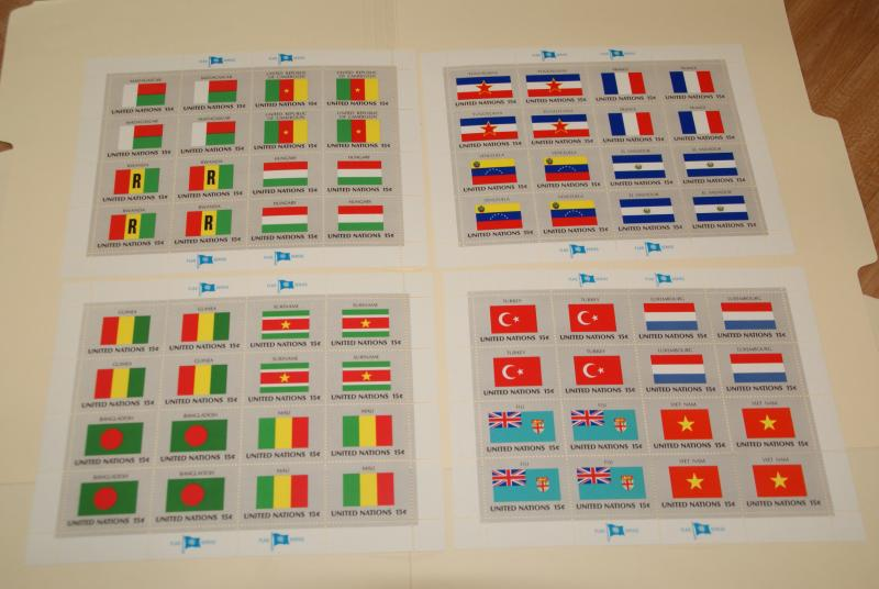 1980 United Nations, UN - NY, Flags series complete sheets of 16, FV $9.60