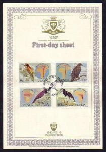 Venda, Scott cat. 100-103. Migratory Birds issue on a First Day Card. ^
