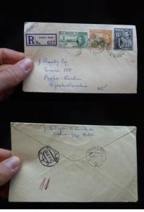 Malta KGVI 3 stamp Reg Cover Victoria Gozo to Czechoslovakia B/S (47bet)