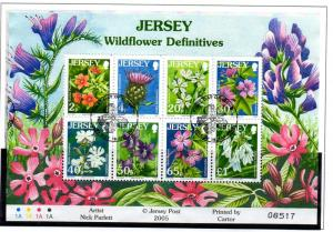 Jersey Sc 1177a 2005 Wildflowers stamp sheet Used