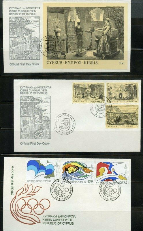 GREEK CYPRUS  LOT OF 20  OFFICIAL CACHETED FIRST DAY COVERS
