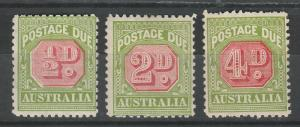 AUSTRALIA 1931 POSTAGE DUE 1/2D 2D AND 4D PERF 11 C OF A WMK