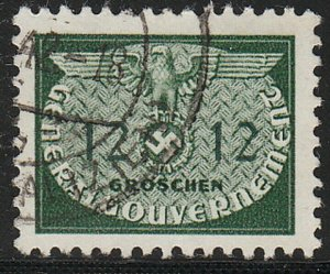 Stamp Germany Poland General Gov't Official Mi 19 Sc NO19 WW2 Occupation Used
