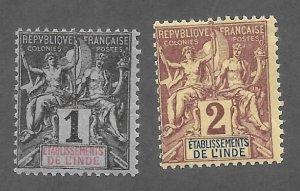 French India Scott 1-2  Mint  Navigation & Commerce stamps  2018 CV $3.80
